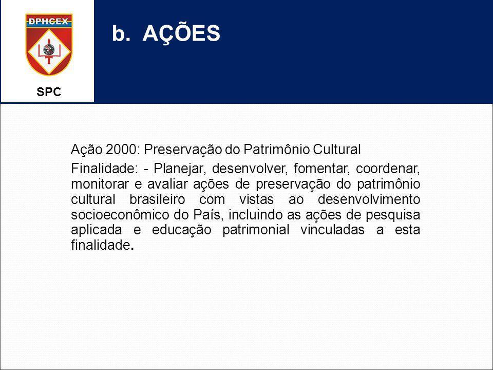 SPC b. AÇÕES Ação 2000: Preservação do Patrimônio Cultural Finalidade: - Planejar, desenvolver, fomentar, coordenar, monitorar e avaliar ações de pres