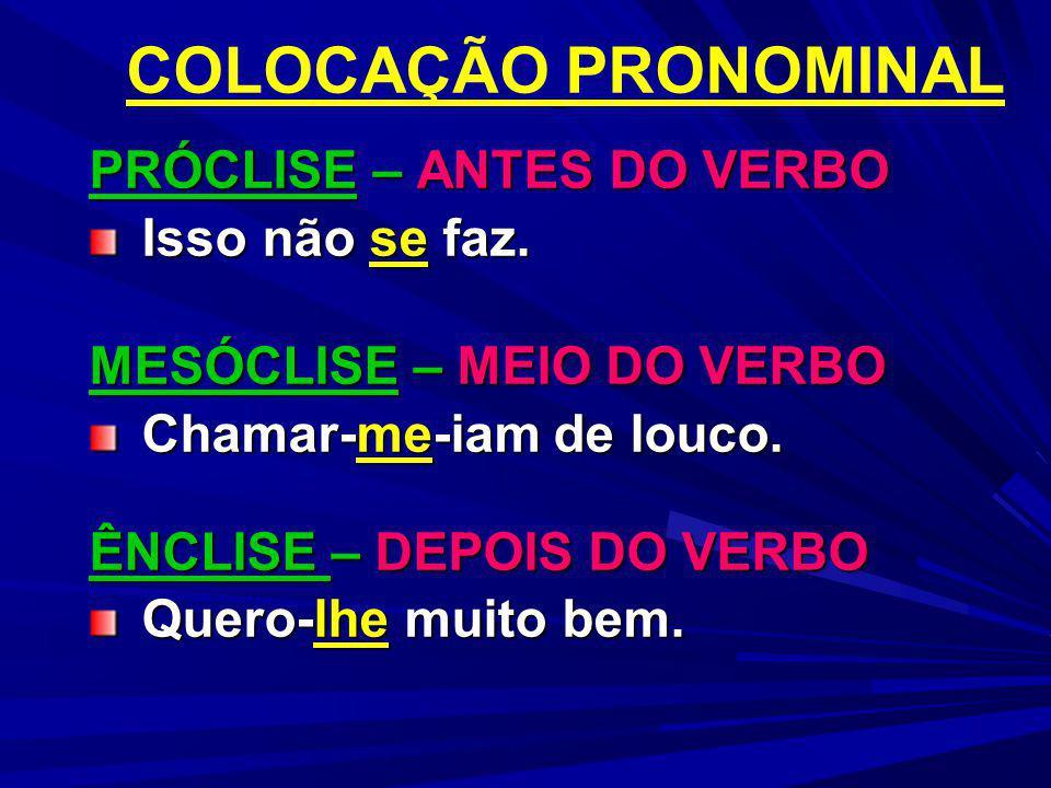 PRÓCLISE 1) Ocorrerá quando antes do verbo houver, na oração, palavras que possam o pronome.