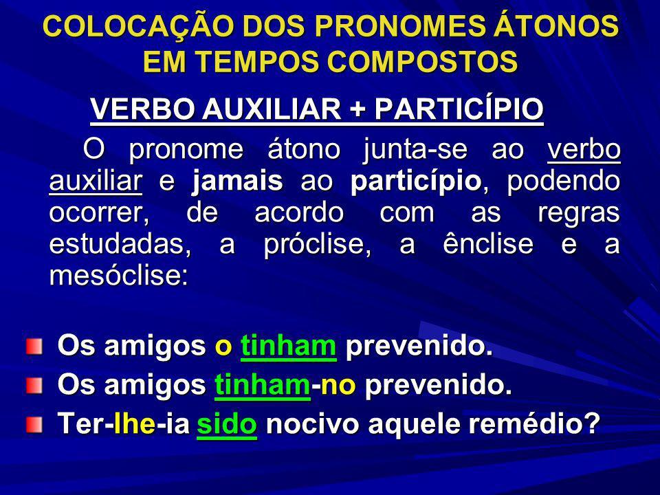 COLOCAÇÃO DOS PRONOMES ÁTONOS EM TEMPOS COMPOSTOS VERBO AUXILIAR + PARTICÍPIO VERBO AUXILIAR + PARTICÍPIO O pronome átono junta-se ao verbo auxiliar e