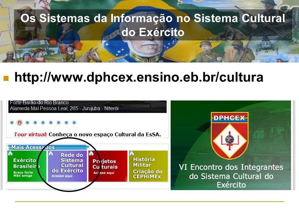 http://www.dphcex.ensino.eb.br/cultura Os Sistemas da Informação no Sistema Cultural do Exército