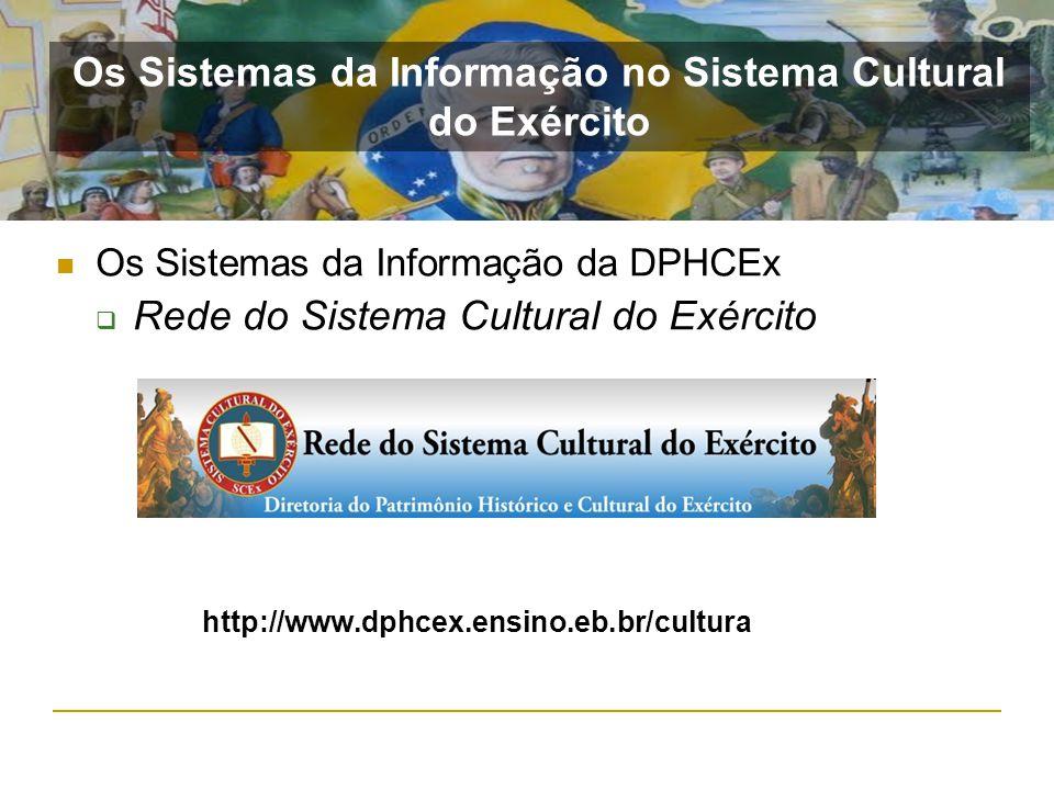 Os Sistemas da Informação da DPHCEx Rede do Sistema Cultural do Exército http://www.dphcex.ensino.eb.br/cultura Os Sistemas da Informação no Sistema C