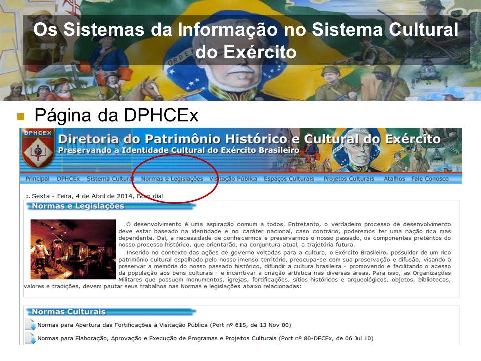 Página da DPHCEx Os Sistemas da Informação no Sistema Cultural do Exército