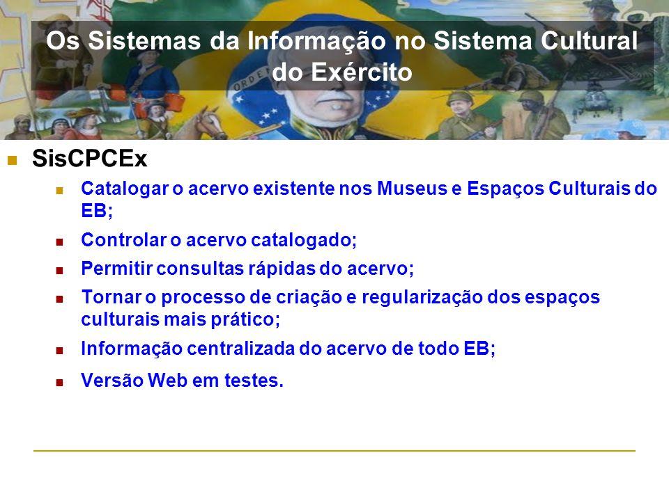SisCPCEx Catalogar o acervo existente nos Museus e Espaços Culturais do EB; Controlar o acervo catalogado; Permitir consultas rápidas do acervo; Torna