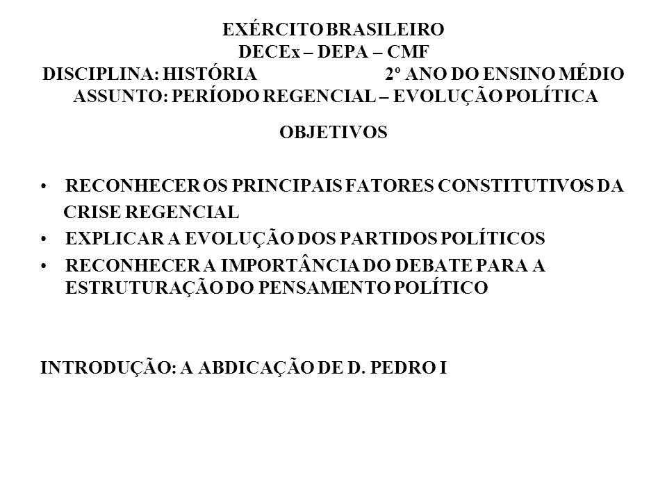Do Avanço liberal ao Regresso conservador A renúncia de Dom Pedro I, longe de restabelecer a ordem e a calma no país, aumentou as divisões entre os vários grupos políticos, comprometendo, inclusive, a frágil unidade do Império A chefia do Poder executivo passou a ser exercida por Regentes, que governariam o país até a maioridade do príncipe Regência trina provisória, Regência trina permanente (1831 – 1835), Regências unas do Padre Feijó (1835 – 1837) e de Araújo Lima (1837 – 1840) Grupos políticos Moderados – Federalismo e fim da vitaliciedade do Senado Restauradores – Retorno de D.
