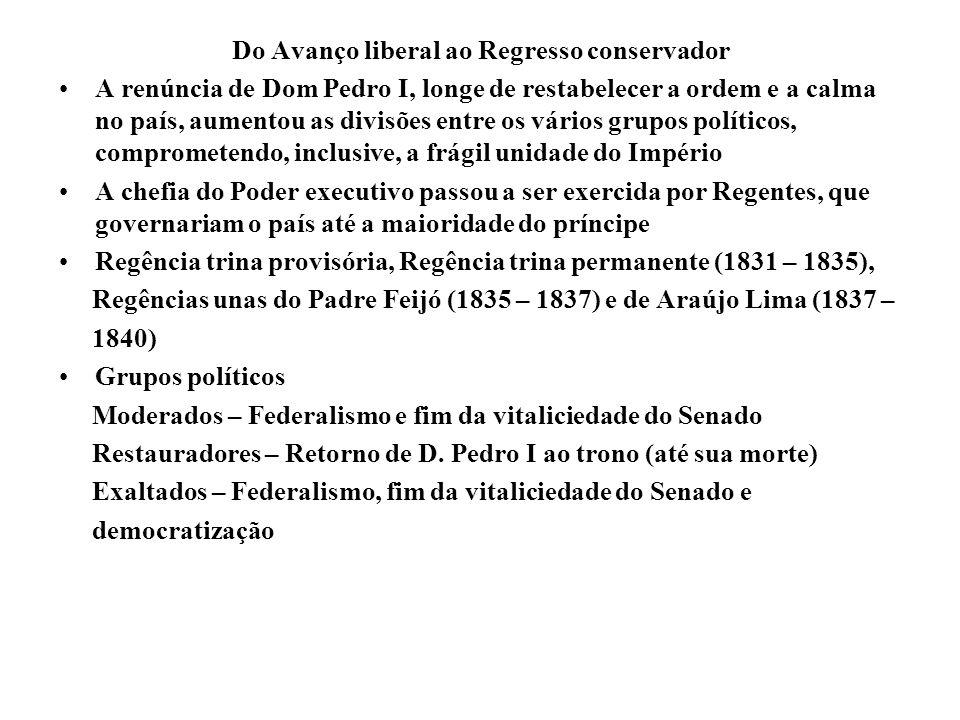 Do Avanço liberal ao Regresso conservador A renúncia de Dom Pedro I, longe de restabelecer a ordem e a calma no país, aumentou as divisões entre os vá