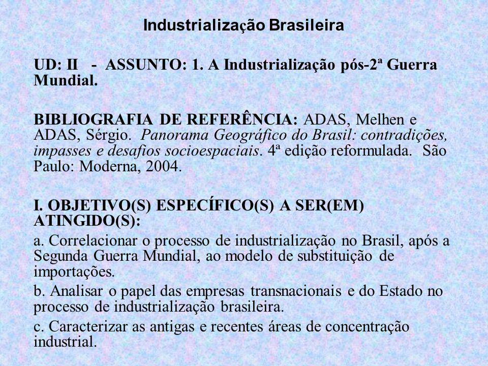 Industrializa ç ão Brasileira UD: II - ASSUNTO: 1. A Industrialização pós-2ª Guerra Mundial. BIBLIOGRAFIA DE REFERÊNCIA: ADAS, Melhen e ADAS, Sérgio.