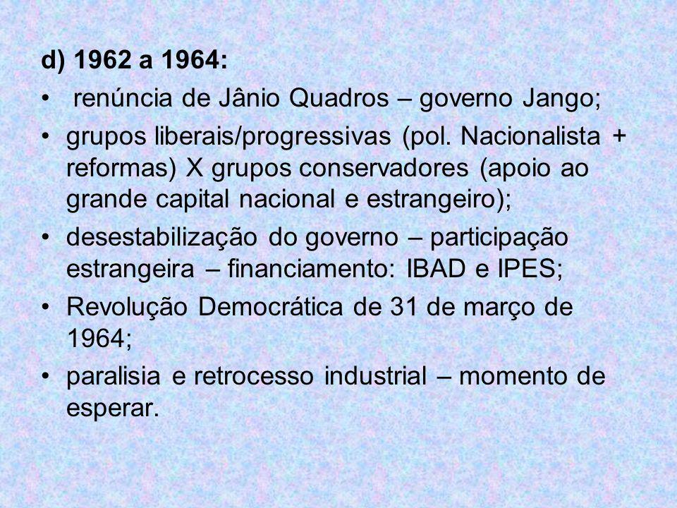 d) 1962 a 1964: renúncia de Jânio Quadros – governo Jango; grupos liberais/progressivas (pol. Nacionalista + reformas) X grupos conservadores (apoio a