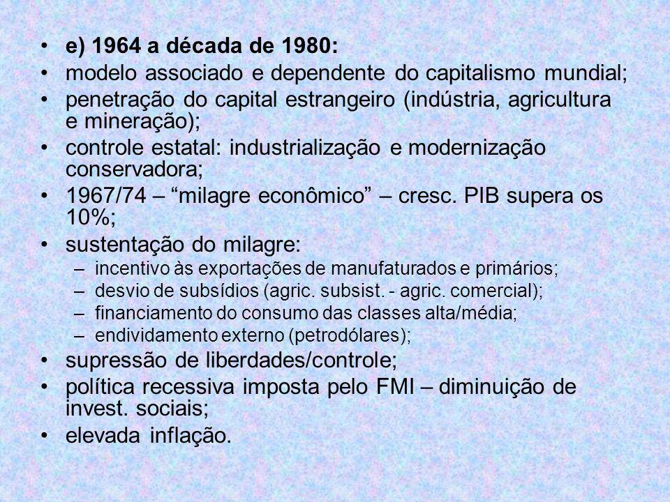 e) 1964 a década de 1980: modelo associado e dependente do capitalismo mundial; penetração do capital estrangeiro (indústria, agricultura e mineração)
