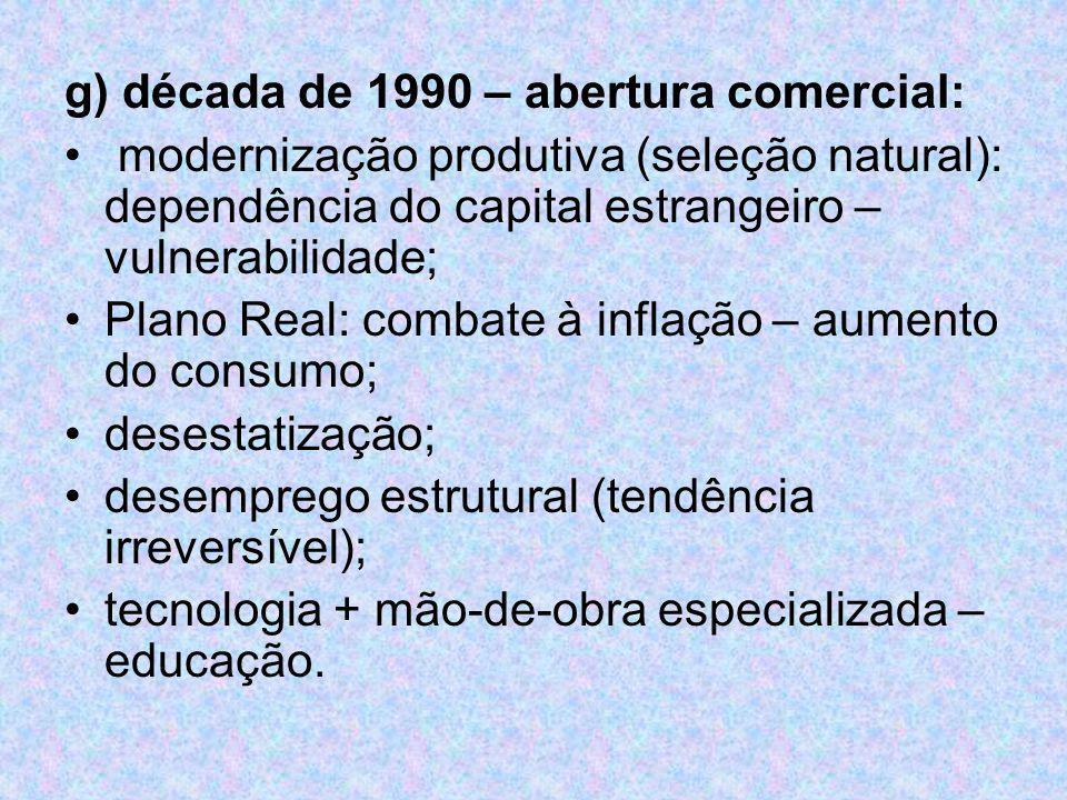 g) década de 1990 – abertura comercial: modernização produtiva (seleção natural): dependência do capital estrangeiro – vulnerabilidade; Plano Real: co