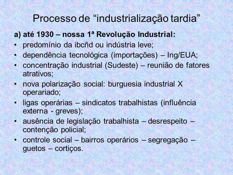 Processo de industrialização tardia a) até 1930 – nossa 1ª Revolução Industrial: predomínio da ibcñd ou indústria leve; dependência tecnológica (impor