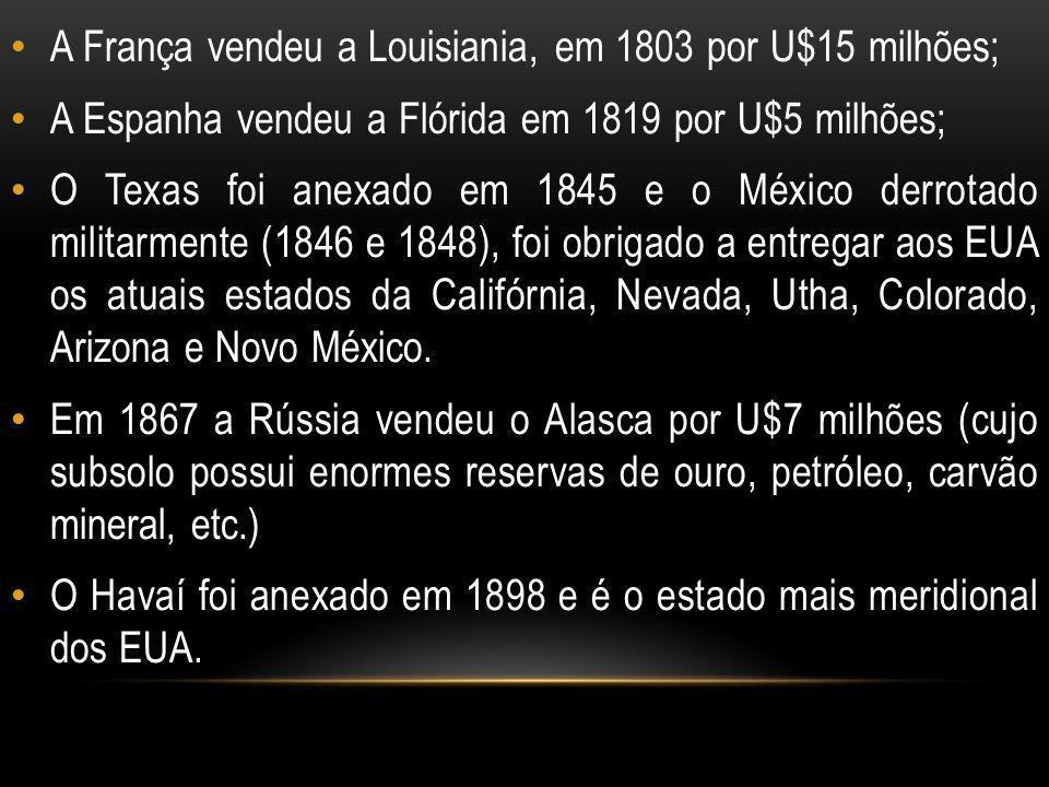 GUERRA DE SECESSÃO Após a independência, as contradições entre os estados do Norte e do Sul acentuaram-se.