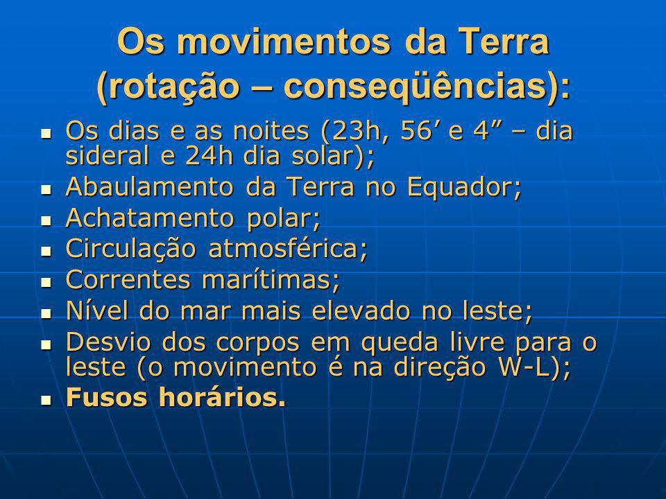 Os movimentos da Terra (rotação – conseqüências): Os dias e as noites (23h, 56 e 4 – dia sideral e 24h dia solar); Os dias e as noites (23h, 56 e 4 –