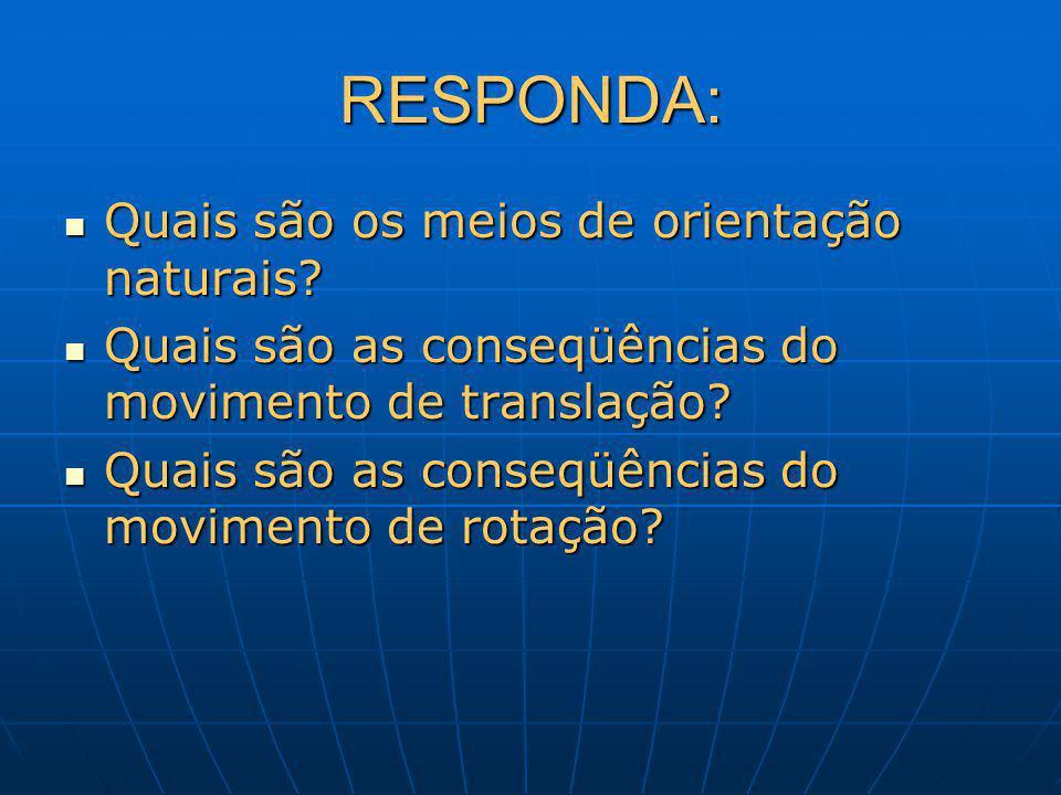RESPONDA: Quais são os meios de orientação naturais? Quais são os meios de orientação naturais? Quais são as conseqüências do movimento de translação?
