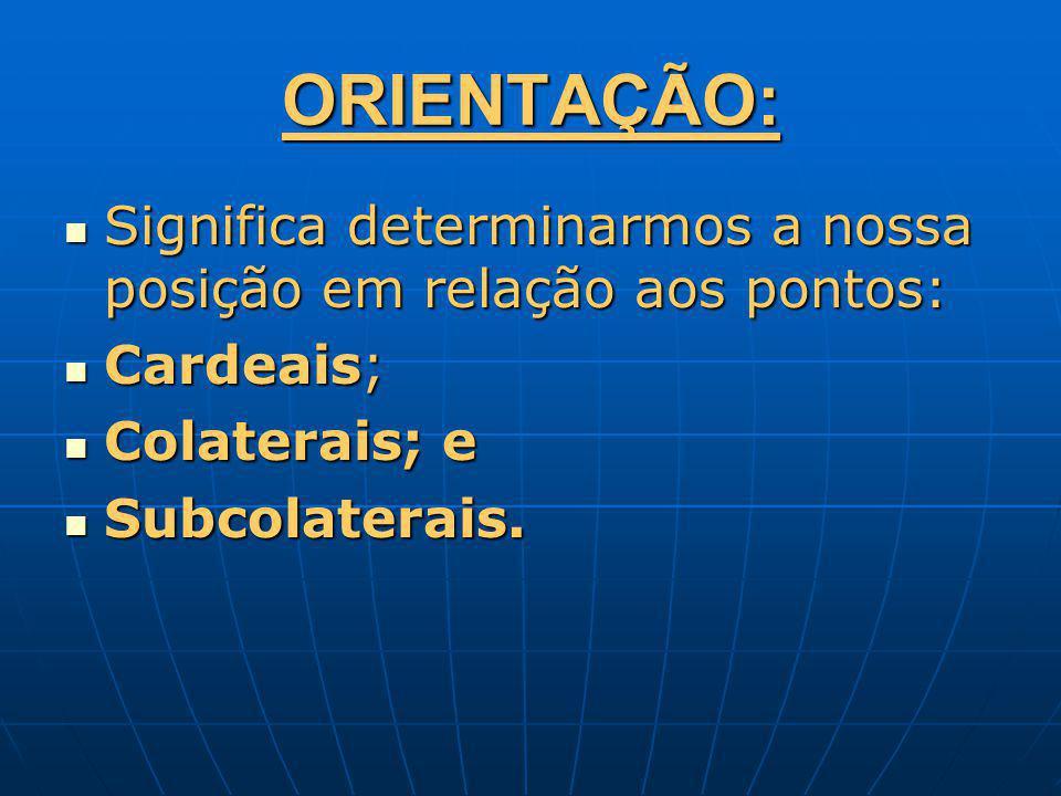 ORIENTAÇÃO: Significa determinarmos a nossa posição em relação aos pontos: Significa determinarmos a nossa posição em relação aos pontos: Cardeais; Ca
