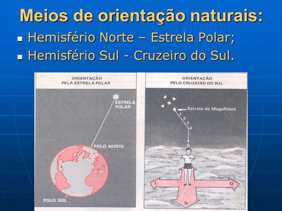 Meios de orientação naturais: Hemisfério Norte – Estrela Polar; Hemisfério Norte – Estrela Polar; Hemisfério Sul - Cruzeiro do Sul. Hemisfério Sul - C