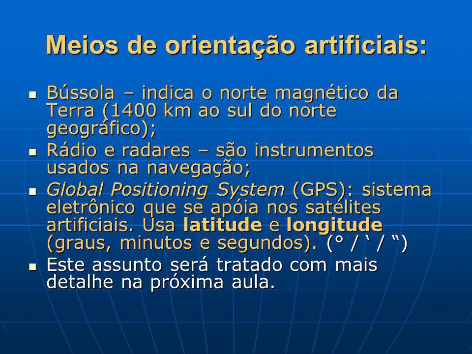 Meios de orientação artificiais: Bússola – indica o norte magnético da Terra (1400 km ao sul do norte geográfico); Bússola – indica o norte magnético