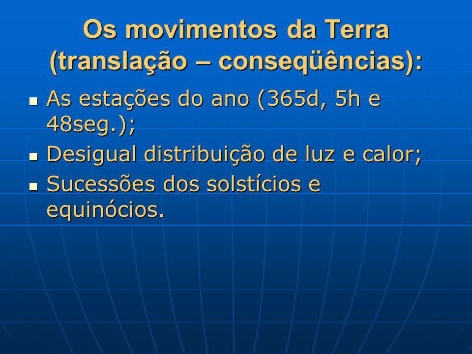 Os movimentos da Terra (translação – conseqüências): As estações do ano (365d, 5h e 48seg.); As estações do ano (365d, 5h e 48seg.); Desigual distribu