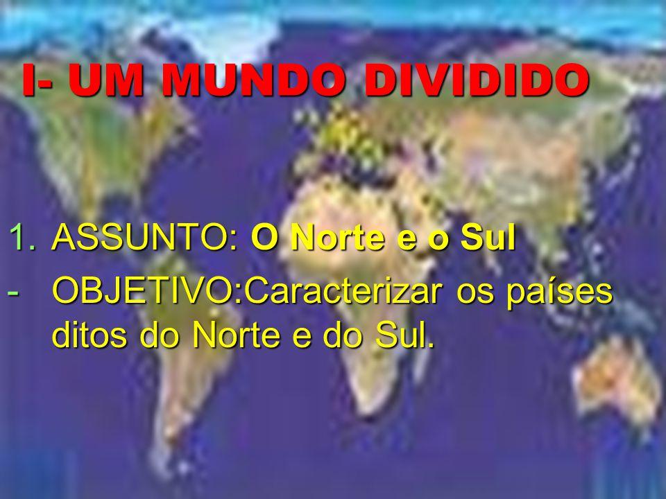 I- UM MUNDO DIVIDIDO 1.ASSUNTO: O Norte e o Sul -OBJETIVO:Caracterizar os países ditos do Norte e do Sul.