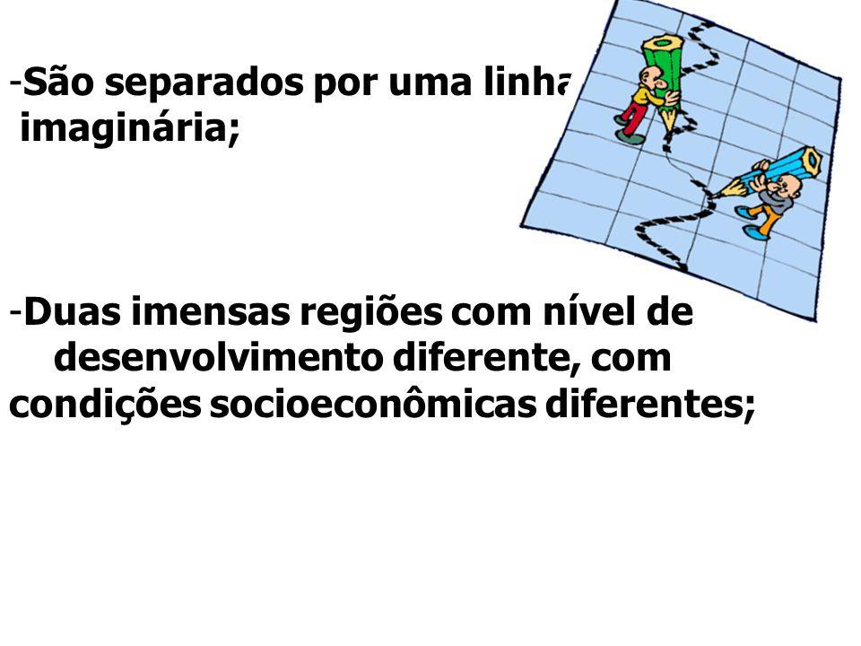 -São separados por uma linha imaginária; -Duas imensas regiões com nível de desenvolvimento diferente, com condições socioeconômicas diferentes;