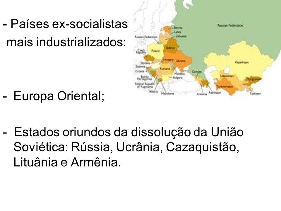 - Países ex-socialistas mais industrializados: -Europa Oriental; - Estados oriundos da dissolução da União Soviética: Rússia, Ucrânia, Cazaquistão, Li