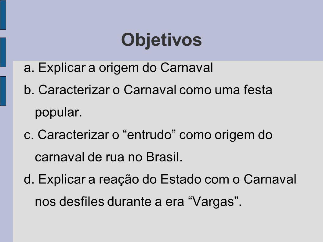 Objetivos a. Explicar a origem do Carnaval b. Caracterizar o Carnaval como uma festa popular. c. Caracterizar o entrudo como origem do carnaval de rua