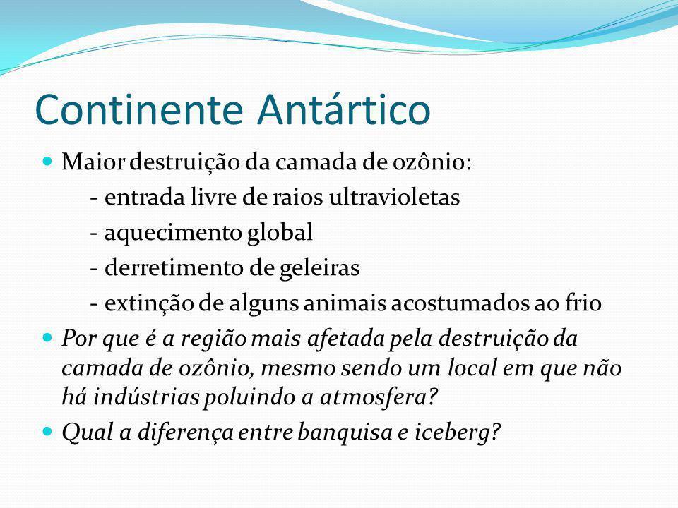 Continente Antártico Maior destruição da camada de ozônio: - entrada livre de raios ultravioletas - aquecimento global - derretimento de geleiras - ex