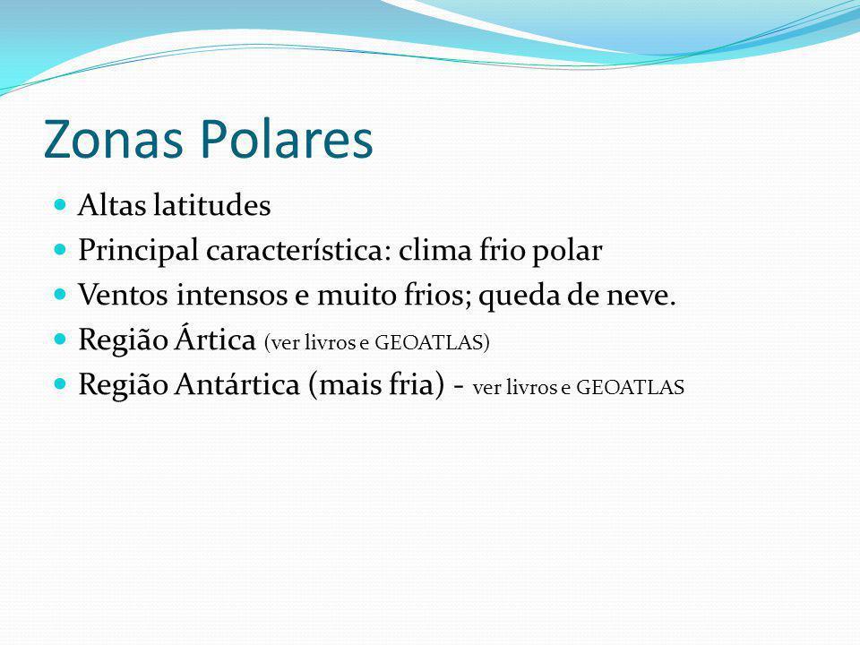 Zonas Polares Altas latitudes Principal característica: clima frio polar Ventos intensos e muito frios; queda de neve. Região Ártica (ver livros e GEO