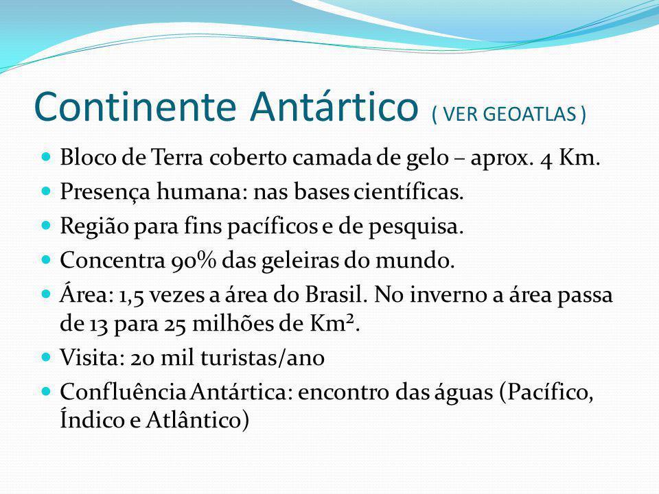 Continente Antártico ( VER GEOATLAS ) Bloco de Terra coberto camada de gelo – aprox. 4 Km. Presença humana: nas bases científicas. Região para fins pa