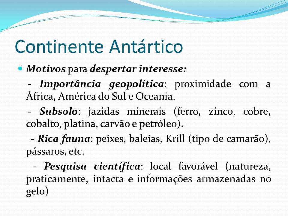 Continente Antártico Motivos para despertar interesse: - Importância geopolítica: proximidade com a África, América do Sul e Oceania. - Subsolo: jazid