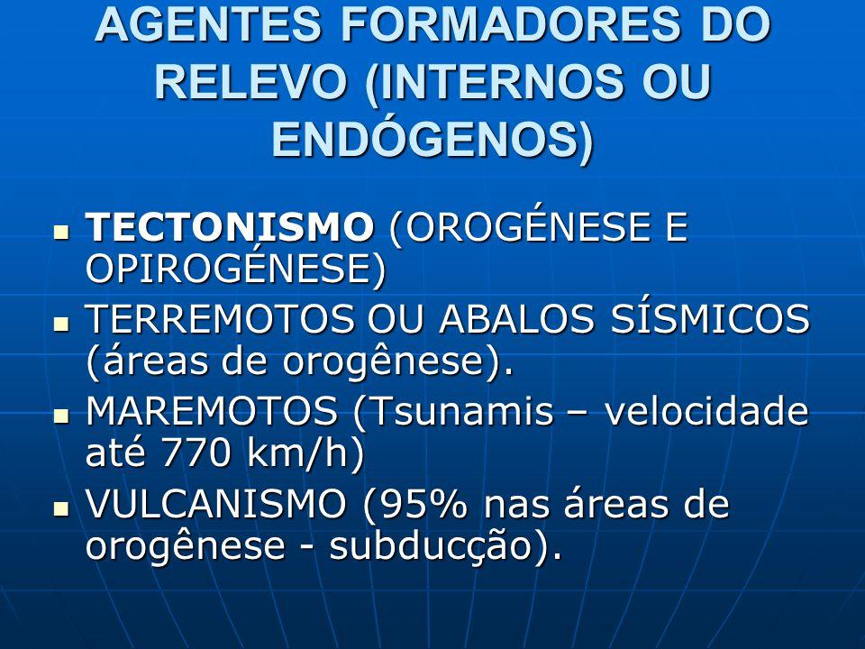 AGENTES FORMADORES DO RELEVO (INTERNOS OU ENDÓGENOS) TECTONISMO (OROGÉNESE E OPIROGÉNESE) TECTONISMO (OROGÉNESE E OPIROGÉNESE) TERREMOTOS OU ABALOS SÍ