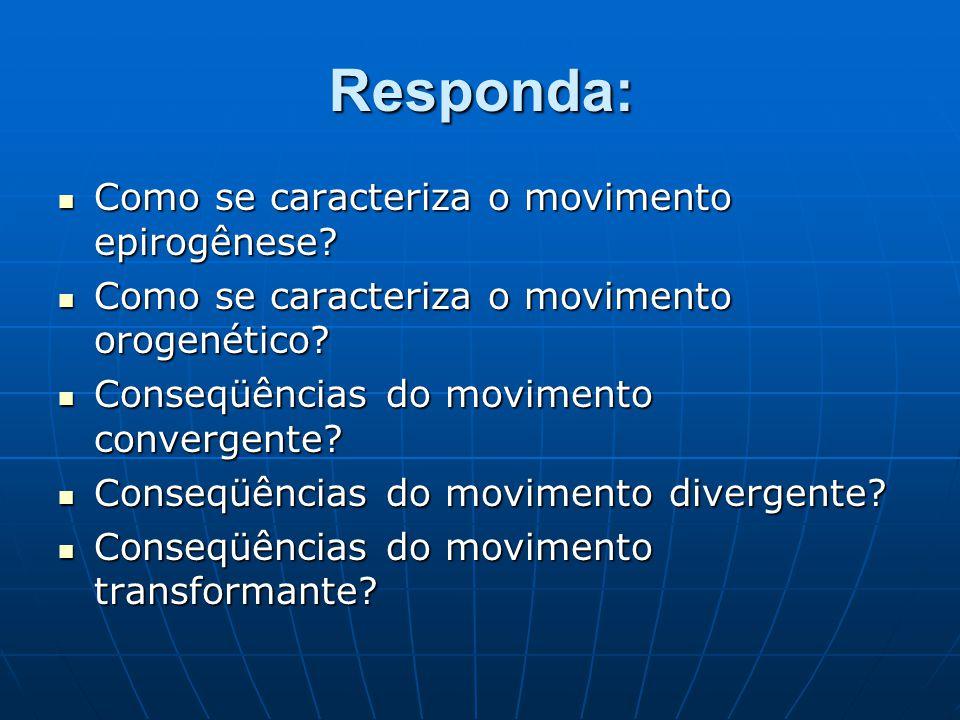 Responda: Como se caracteriza o movimento epirogênese? Como se caracteriza o movimento epirogênese? Como se caracteriza o movimento orogenético? Como