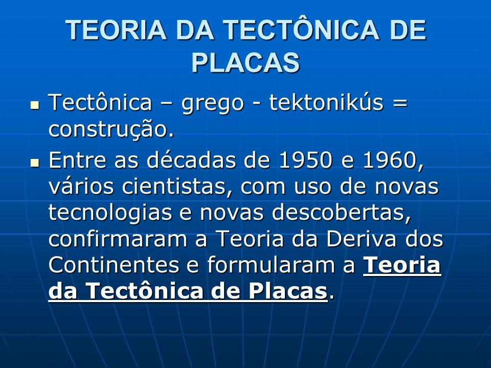 TEORIA DA TECTÔNICA DE PLACAS Tectônica – grego - tektonikús = construção. Tectônica – grego - tektonikús = construção. Entre as décadas de 1950 e 196