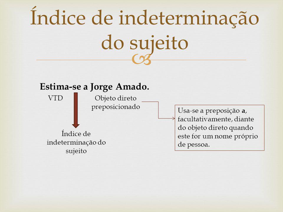 Índice de indeterminação do sujeito Estima-se a Jorge Amado. VTDObjeto direto preposicionado Usa-se a preposição a, facultativamente, diante do objeto