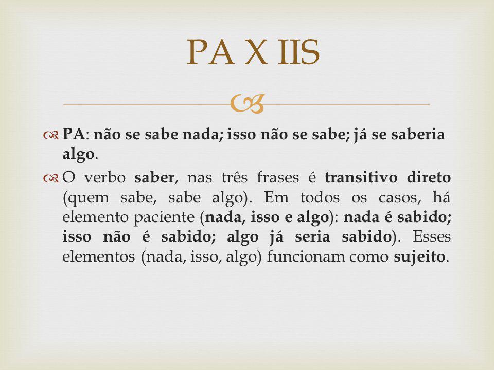 PA : não se sabe nada; isso não se sabe; já se saberia algo. O verbo saber, nas três frases é transitivo direto (quem sabe, sabe algo). Em todos os ca