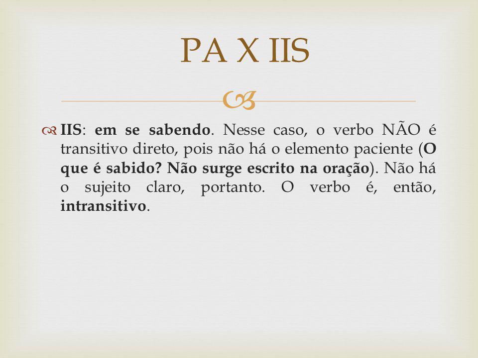 IIS : em se sabendo. Nesse caso, o verbo NÃO é transitivo direto, pois não há o elemento paciente ( O que é sabido? Não surge escrito na oração ). Não
