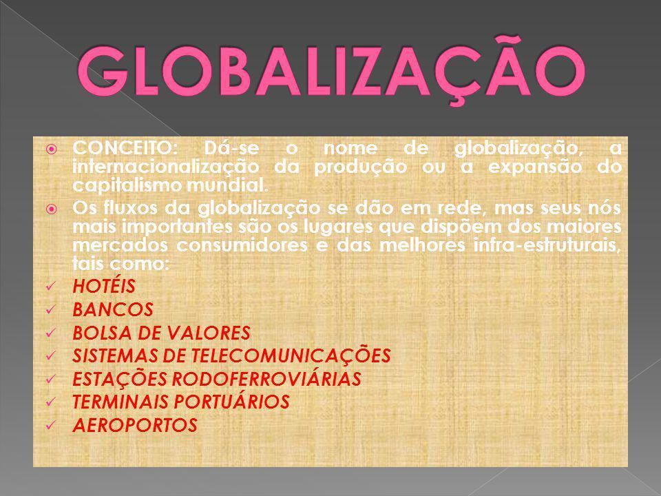 CONCEITO: Dá-se o nome de globalização, a internacionalização da produção ou a expansão do capitalismo mundial.