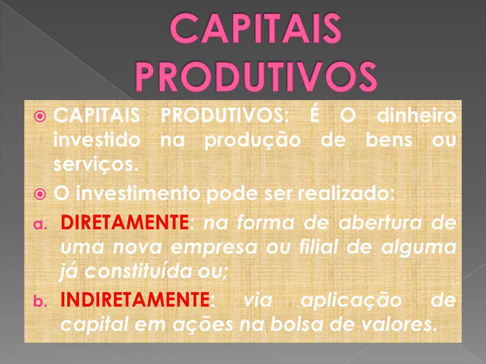 CAPITAIS PRODUTIVOS: É O dinheiro investido na produção de bens ou serviços.