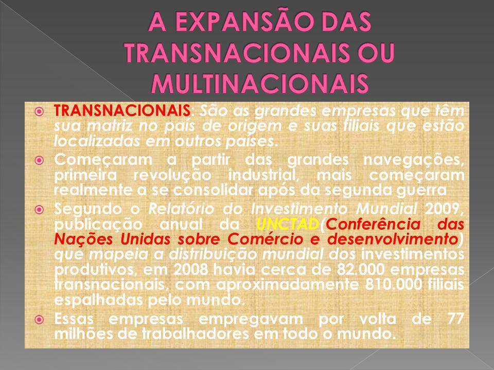 TRANSNACIONAIS: São as grandes empresas que têm sua matriz no país de origem e suas filiais que estão localizadas em outros países.