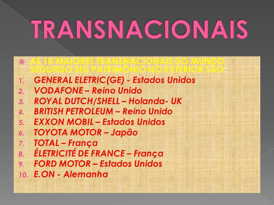 AS 10 MAIORES TRANSNACIONAIS DO MUNDO, SEGUNDO SEU PATRIMÔNIO NO EXTERIOR SÃO: 1.
