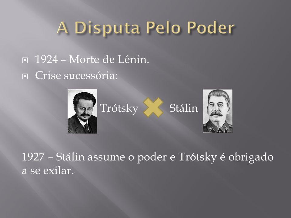 1924 – Morte de Lênin. Crise sucessória: Trótsky Stálin 1927 – Stálin assume o poder e Trótsky é obrigado a se exilar.