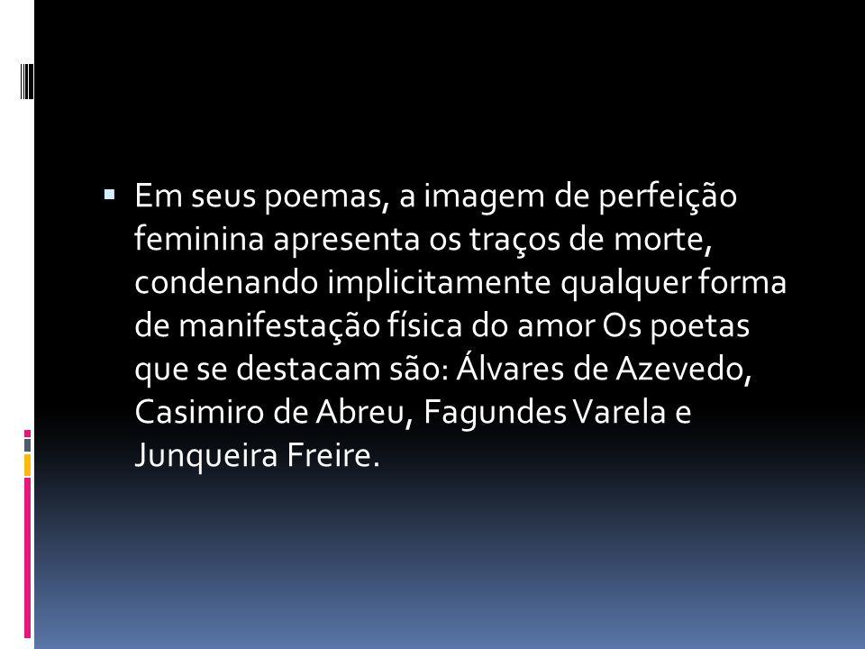Em seus poemas, a imagem de perfeição feminina apresenta os traços de morte, condenando implicitamente qualquer forma de manifestação física do amor O