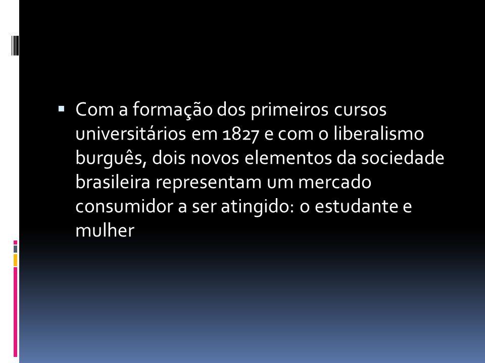 Com a formação dos primeiros cursos universitários em 1827 e com o liberalismo burguês, dois novos elementos da sociedade brasileira representam um me