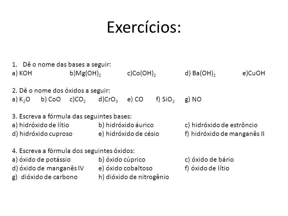 Exercícios: 1.Dê o nome das bases a seguir: a) KOHb)Mg(OH) 2 c)Co(OH) 2 d) Ba(OH) 2 e)CuOH 2. Dê o nome dos óxidos a seguir: a) K 2 Ob) CoOc)CO 2 d)Cr