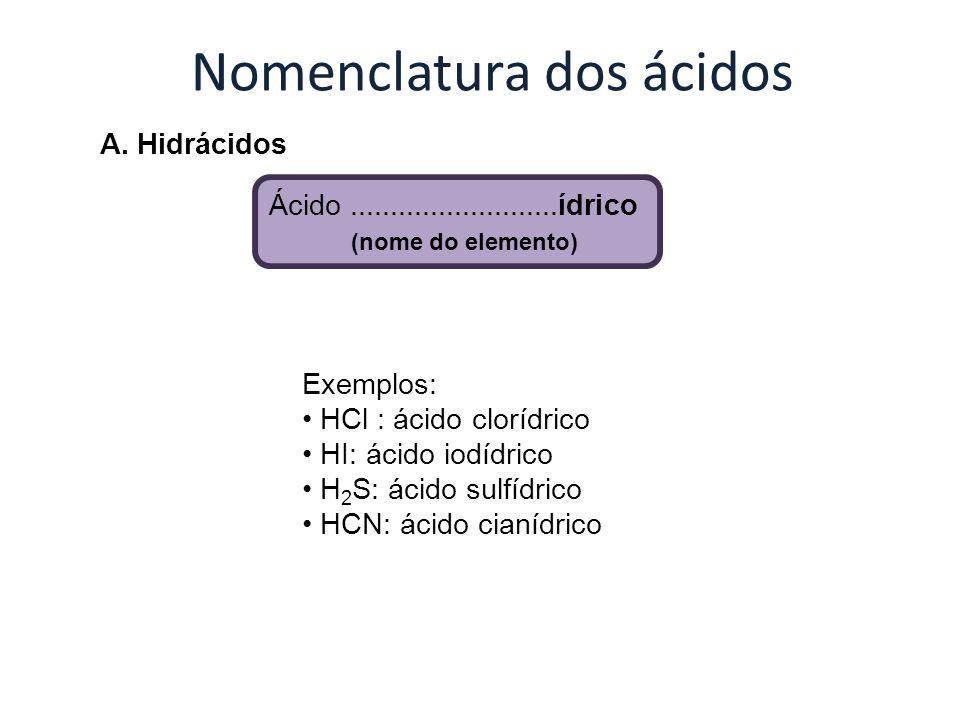 Nomenclatura dos ácidos A. Hidrácidos Ácido..........................ídrico (nome do elemento) Exemplos: HCl : ácido clorídrico HI: ácido iodídrico H