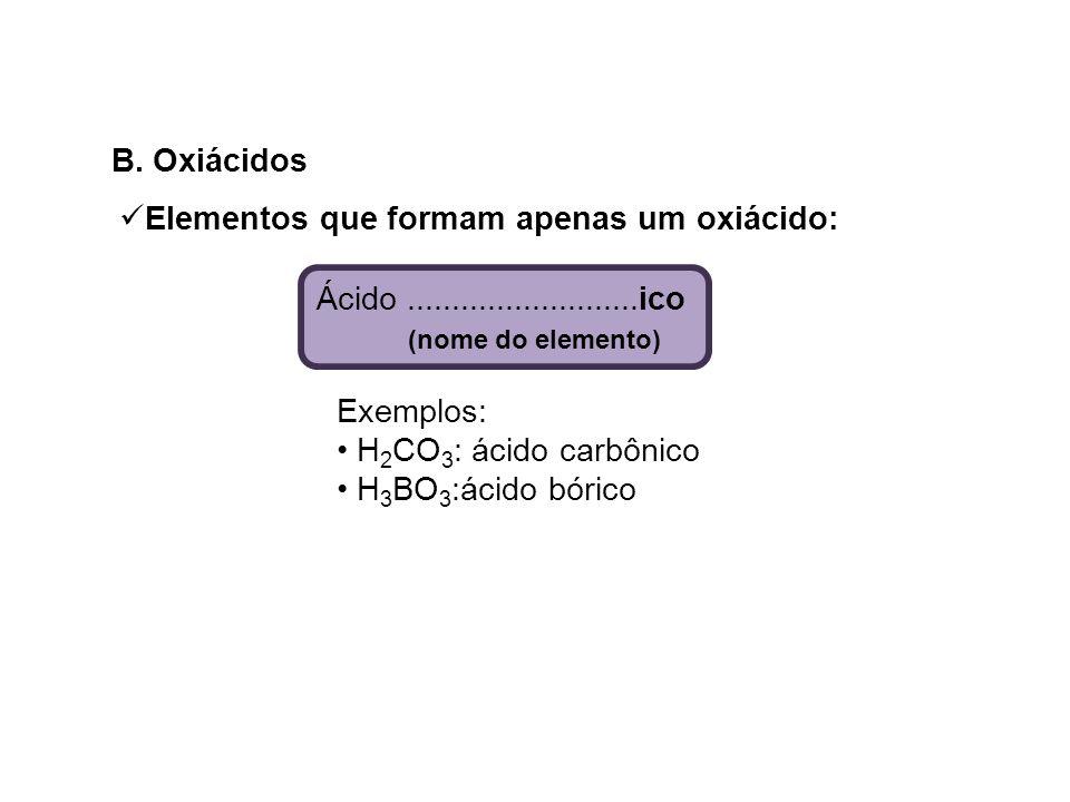 B. Oxiácidos Ácido..........................ico (nome do elemento) Exemplos: H 2 CO 3 : ácido carbônico H 3 BO 3 :ácido bórico Elementos que formam ap