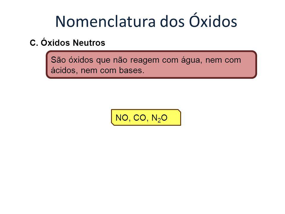 Nomenclatura dos Óxidos C. Óxidos Neutros São óxidos que não reagem com água, nem com ácidos, nem com bases. NO, CO, N 2 O
