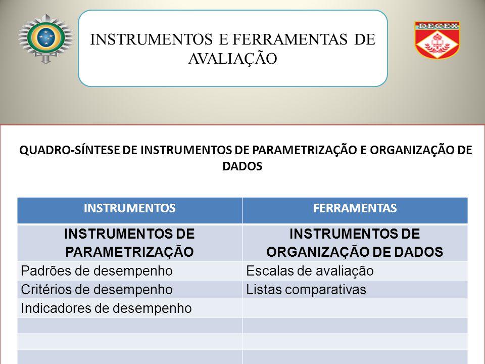 INSTRUMENTOS E FERRAMENTAS DE AVALIAÇÃO QUADRO-SÍNTESE DE INSTRUMENTOS DE PARAMETRIZAÇÃO E ORGANIZAÇÃO DE DADOS INSTRUMENTOSFERRAMENTAS INSTRUMENTOS DE PARAMETRIZAÇÃO INSTRUMENTOS DE ORGANIZAÇÃO DE DADOS Padrões de desempenhoEscalas de avaliação Critérios de desempenhoListas comparativas Indicadores de desempenho