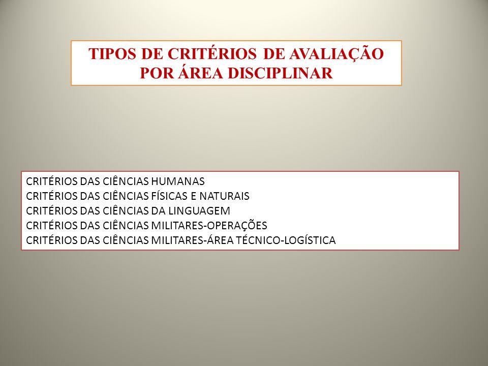 TIPOS DE CRITÉRIOS DE AVALIAÇÃO POR ÁREA DISCIPLINAR CRITÉRIOS DAS CIÊNCIAS HUMANAS CRITÉRIOS DAS CIÊNCIAS FÍSICAS E NATURAIS CRITÉRIOS DAS CIÊNCIAS DA LINGUAGEM CRITÉRIOS DAS CIÊNCIAS MILITARES-OPERAÇÕES CRITÉRIOS DAS CIÊNCIAS MILITARES-ÁREA TÉCNICO-LOGÍSTICA