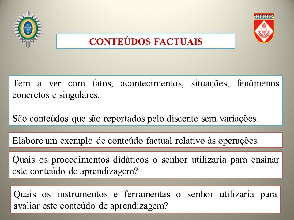 CONTEÚDOS FACTUAIS Têm a ver com fatos, acontecimentos, situações, fenômenos concretos e singulares.