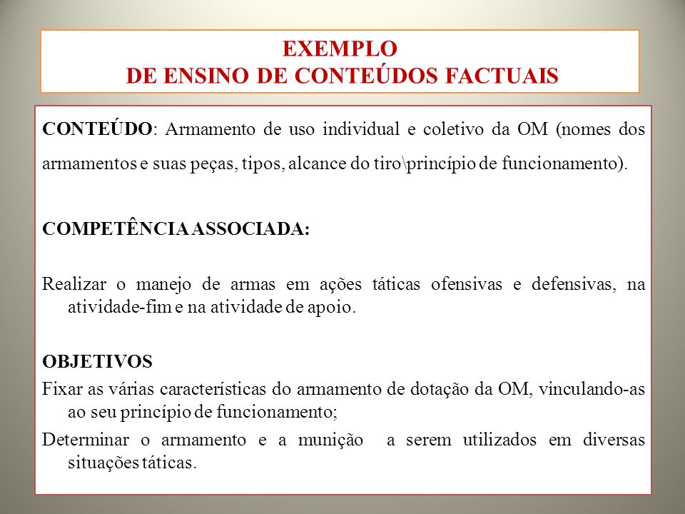 CONTEÚDO: Armamento de uso individual e coletivo da OM (nomes dos armamentos e suas peças, tipos, alcance do tiro\princípio de funcionamento).